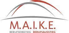 """Logo, bestehend aus zwei Brücken und dem Text """"MAIKE Berufseinstieg Berufsausstieg"""""""