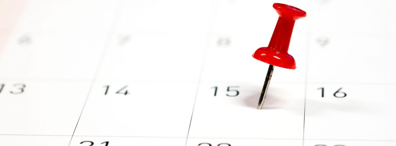 Embroidered red pins on a calendar on the 15th with selective fo